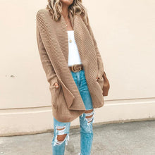 Fashion Lapel Long Sleeve Pocket Plain Cardigans