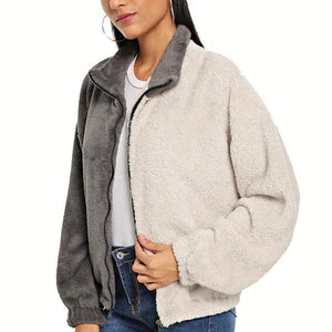 Open Color Matching Plush Jacket