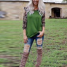 Round Neck Long Sleeve Hollow Out Leopard Printed Patchwork T-Shirts