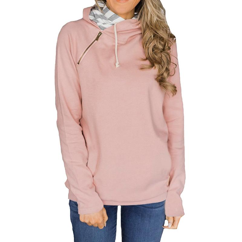 Fashion Zipper Drawstring With Hooded Top