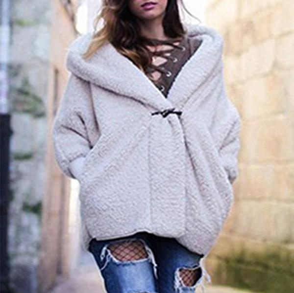 Comfortable Warm Hooded Collar   Loose Jacket