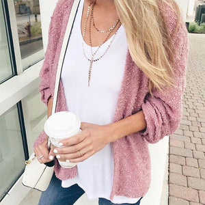 Autumn And Winter Fashion Plush   Cardigan