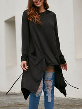 Solid Color Long Hooded Sweatshirt