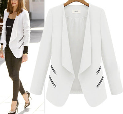 Fold Over Collar Asymmetric Hem Plain Jackets