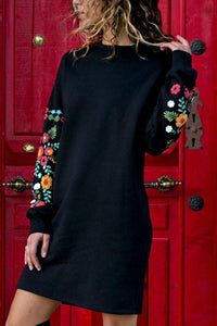 Round Neck  Floral Printed  Long Sleeve Casual Dresses