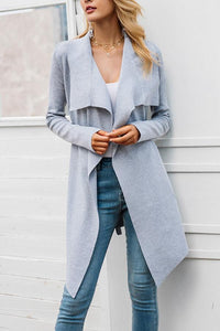 Lapel  Plain Trench Coat