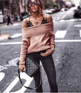 Sexy Cowl Neck Plain Sweaters