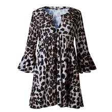 V Neck Flare Sleeve Leopard Printed Casual Dress
