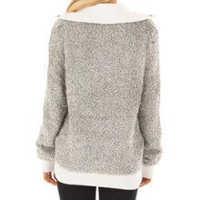 Fashion Color Blcoking High Collar Zipper Up Sweater