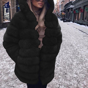 Fashion Hooded Elegant Long Sleeve Pocket Fur Coats