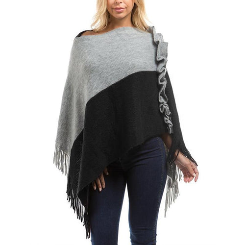 Knitted Sweaters Tassel Pullover Cloak Women Patchwork Warm Capes