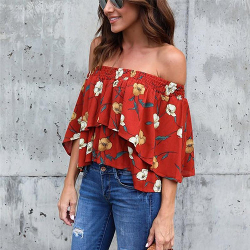 Fashion Casual Sexy Printed Off Shoulder Blouses