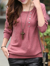 Round Neck  Decorative Button  Plain Long Sleeve T-Shirts
