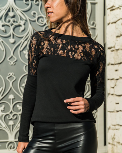 Fashion Round Neck Lace Stitching Long Sleeve T-Shirts