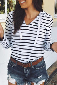 Casual Striped Drawstring Loose Long Sleeve T-Shirts