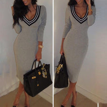 Sexy V-Neck Long Sleeve Knited Bodycon Dress