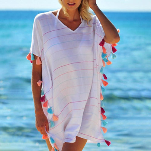 V-Neck Multi-Color Tassels Plain Tunic
