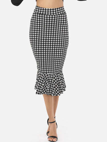 Houndstooth Ruffled Hem Graceful Midi-Skirt