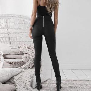 Cutout Elastic Waist Zips  Decorative Hardware  Plain Leggings
