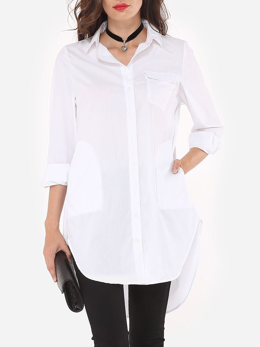 Plain Flap Pockets Pockets Elegant Awesome Button Down Collar Blouse