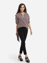 Single Breasted Decorative Buttons V Neck Dacron Plain Seethrough Blouse