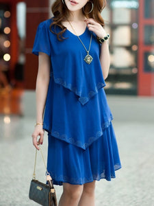 V-Neck Plain Layered Chiffon Shift Dress