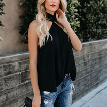 Sexy High Neck Sleeveless Solid Color Top