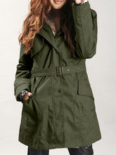 Hooded Flap Pocket Detachable Fleece Lined Coat