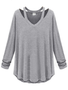 Attractive V Neck Plain Long-Sleeve-T-Shirt