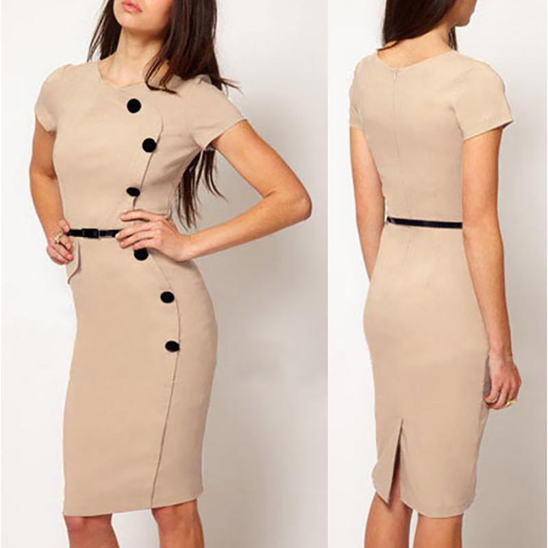 Buttoned Knee-Length Bodycon Dress