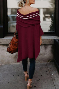 Off Shoulder  Asymmetric Hem  Striped T-Shirts