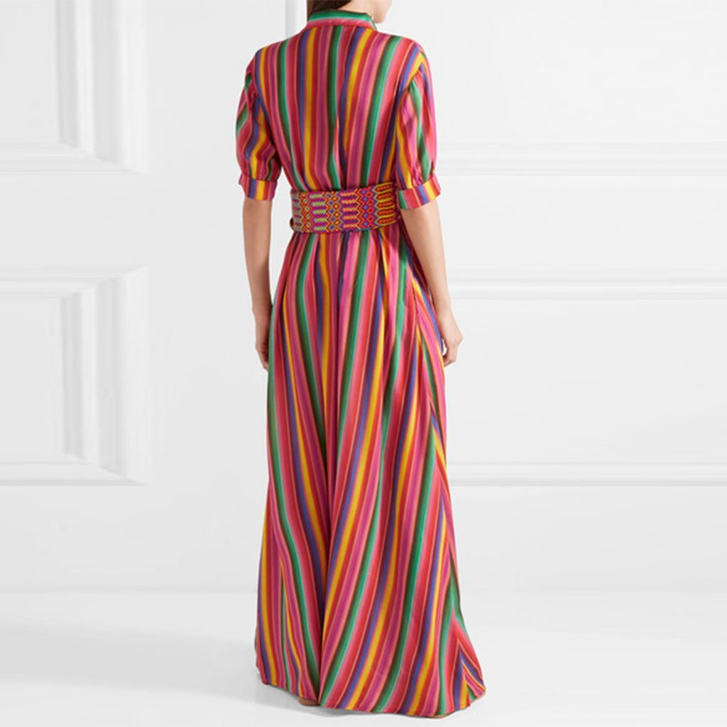 Button down collar roll up sleeve half sleeve maxi dresses wholesale