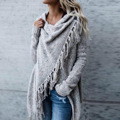 Fringed Heap Neck Cropped Cardigan