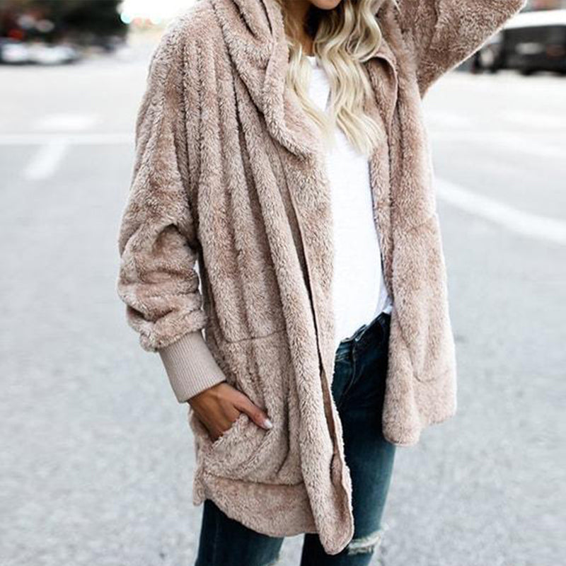 Hooded Fluffy Jacket In Fleece Fur