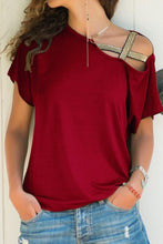 Asymmetric Neck  Casual  Plain T-Shirts