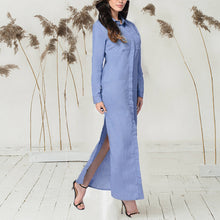 Button Down Collar Pure  Long Sleeve Maxi Dresses