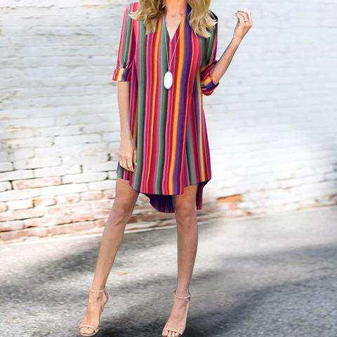 Deep V-Neck  Striped  Roll-Up Sleeve Maxi Dresses