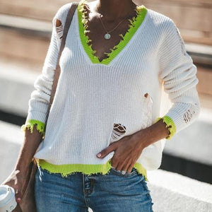 Stylish Cut-Out V-Neck Sweater