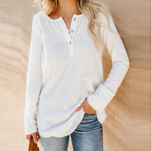 Single-Breasted Long-Sleeved T-Shirt