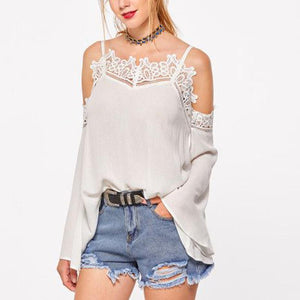 Fashion Strapless Lace Patchwork T-Shirt