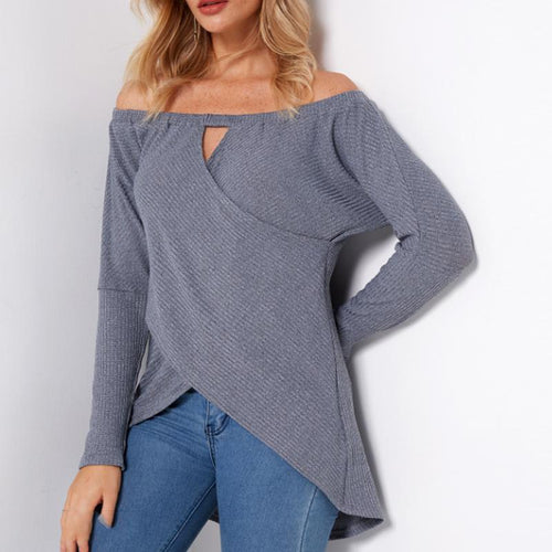 Long-Sleeved One-Shouldered Crossover T-Shirt