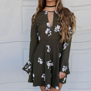 Casual Printed Flounce Dress