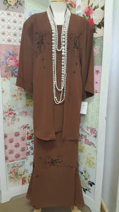 Brown 2-Piece Skirt Set VI028