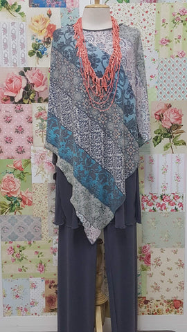 Grey Printed Poncho RS035