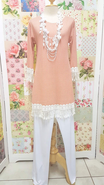 Peach Polka Dot Top CH0157