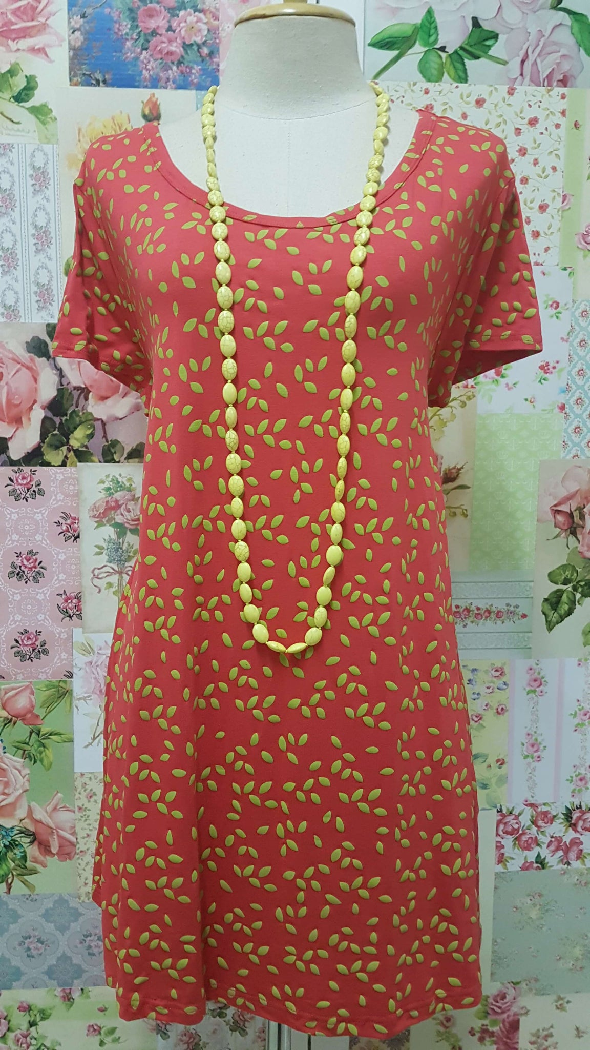 Tangerine & Lime Green Printed Top BE047