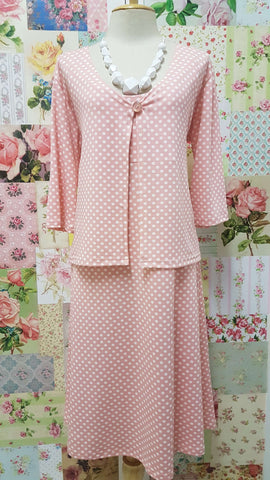 Peach Polka Dot Dress & Jacket CH0272