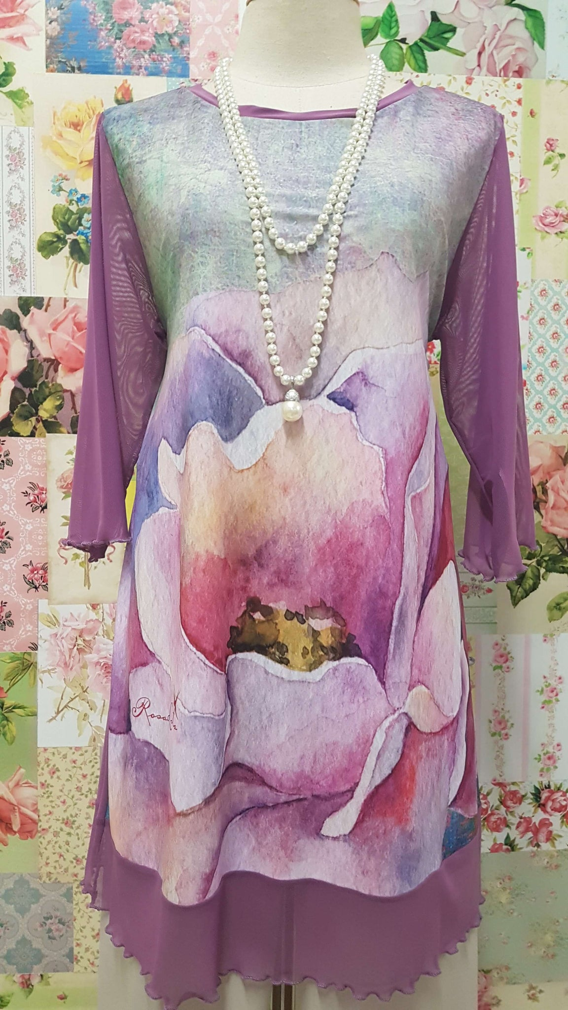 White & Lavender Printed Top RS029