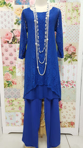 Royal Blue 3-Piece Pants Set JS065