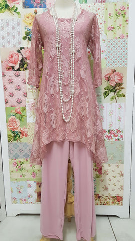 Dusty Pink 3-Piece Pants Set JS052